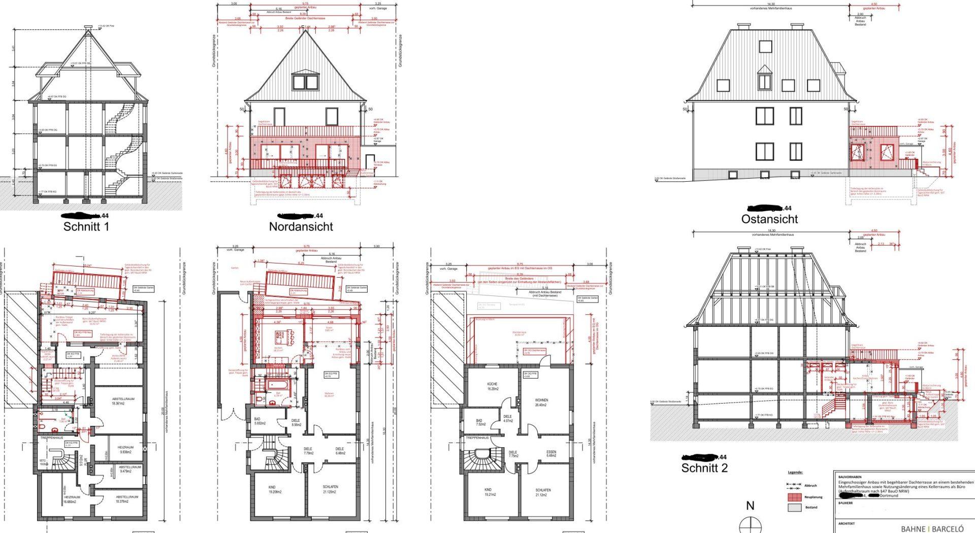 Genehmigungsplan_Anbau Mehrfamilienhaus in Dortmund