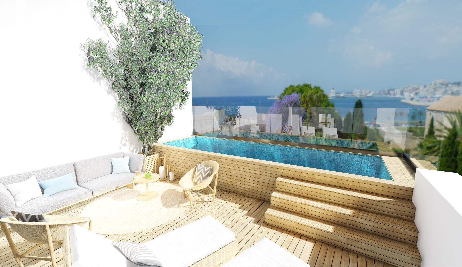 Fantastischer Blick von der Poolterrasse auf die Bucht von Palma de Mallorca