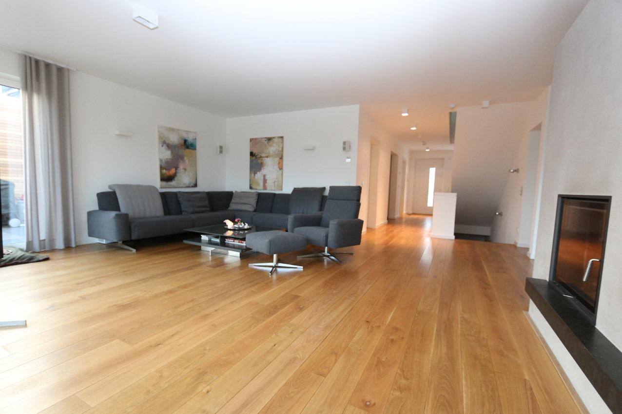 Blick ins Wohnzimmer, Neubau in Dortmund-Lücklemberg