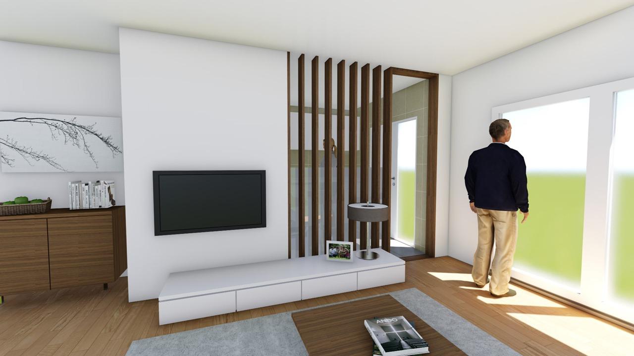 Blick auf den neuen Durchgang von der Küche ins Wohnzimmer der Wohnung in der Bonanova (Palma de Mallorca)