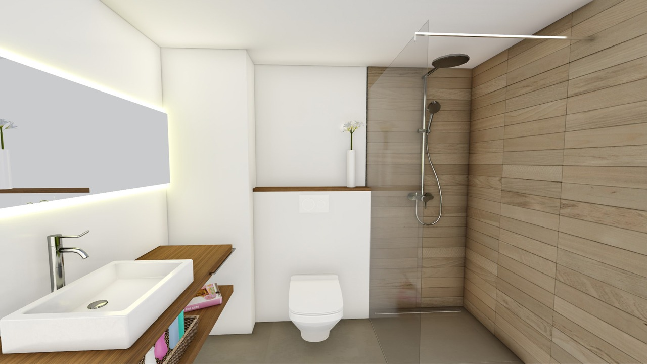 Blick ins neue Gästebad der Wohnung in der Bonanova (Palma de Mallorca)