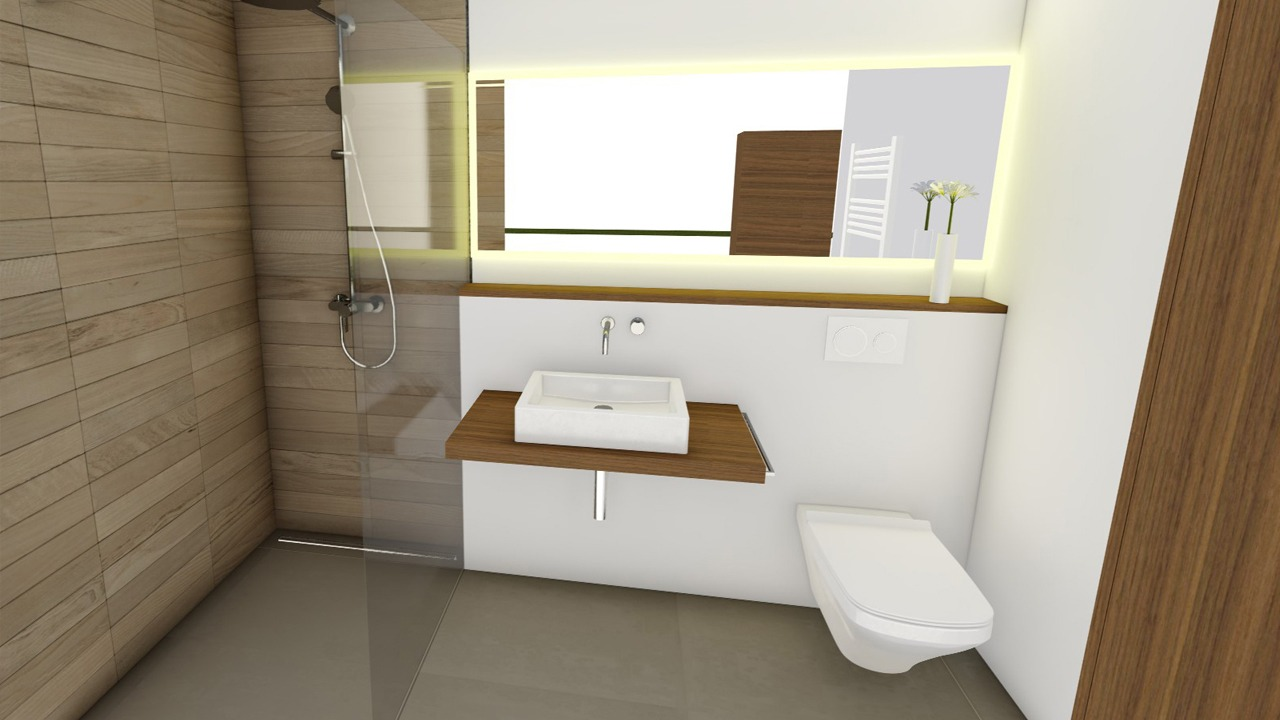 Blick ins neue Bad en suite der Wohnung in der Bonanova (Palma de Mallorca)