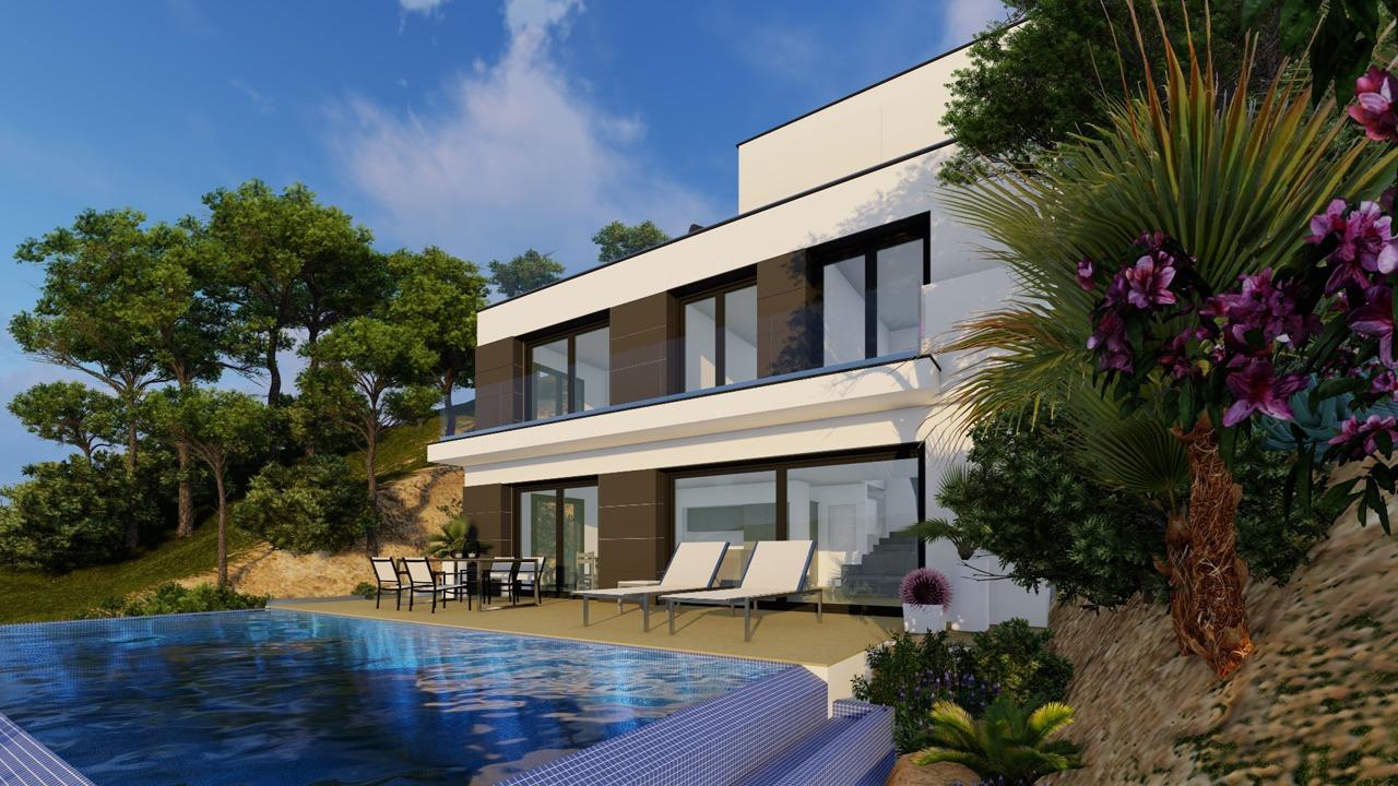 Blick auf die Poolterrasse und das Haus in der Cala Moragues, Puerto Andratx, Mallorca