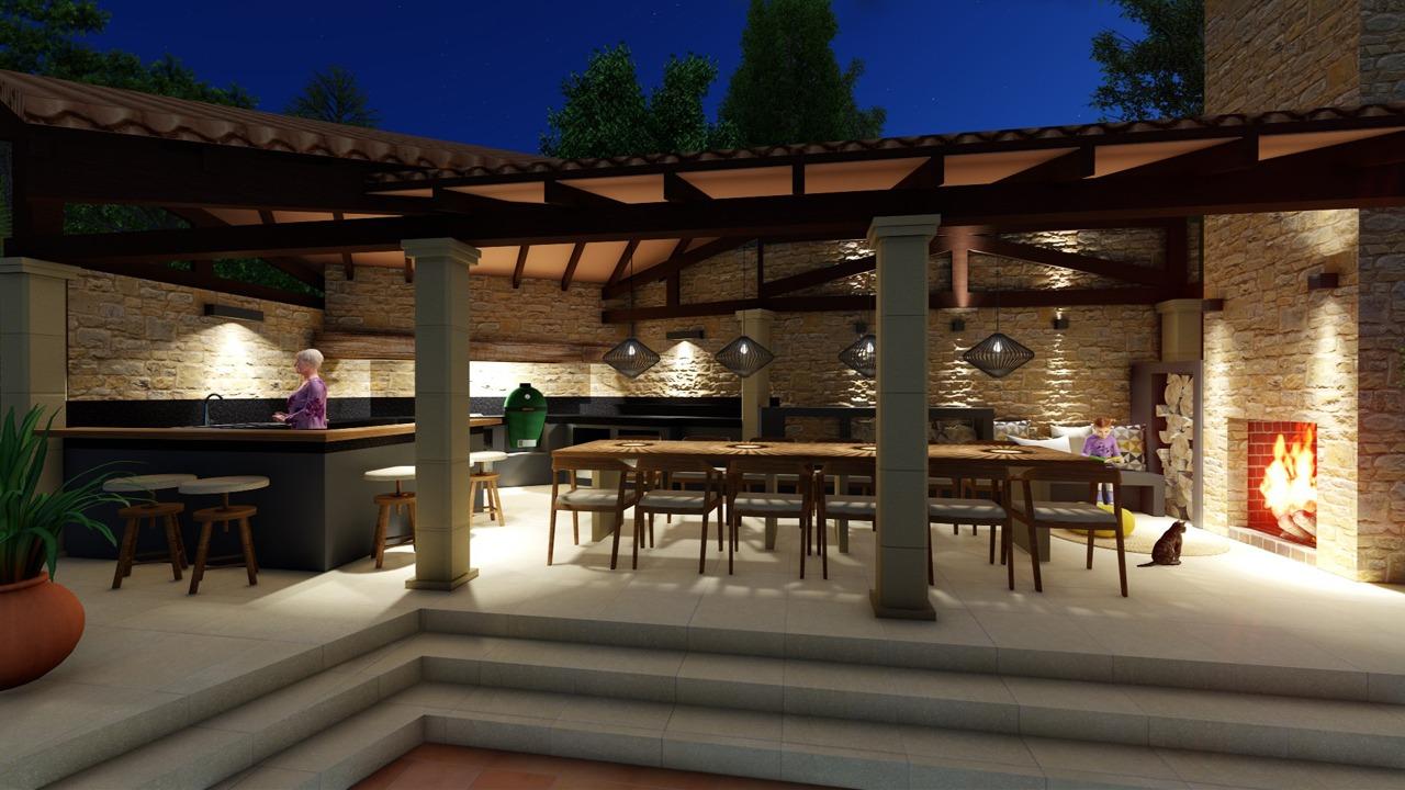 Blick die neue Aussenküche bei Nacht in Son Vida (Mallorca)