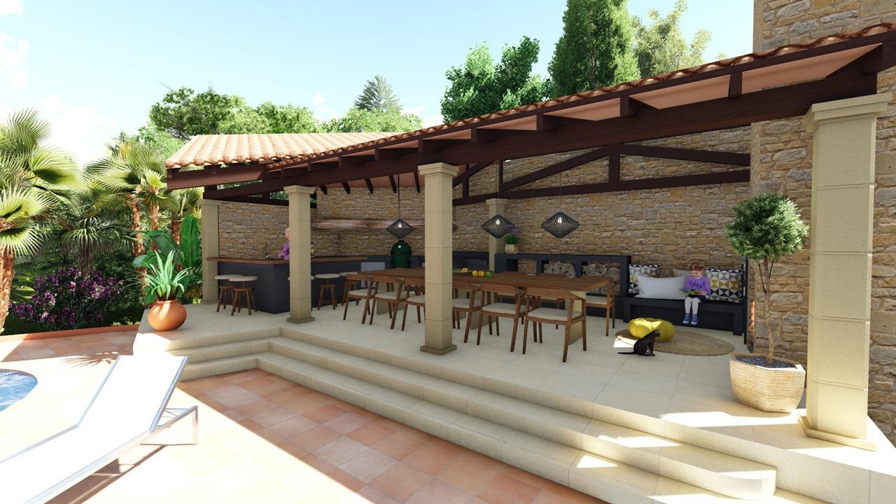 Visualisierung der neuen Aussenküche in Son Vida (Mallorca)