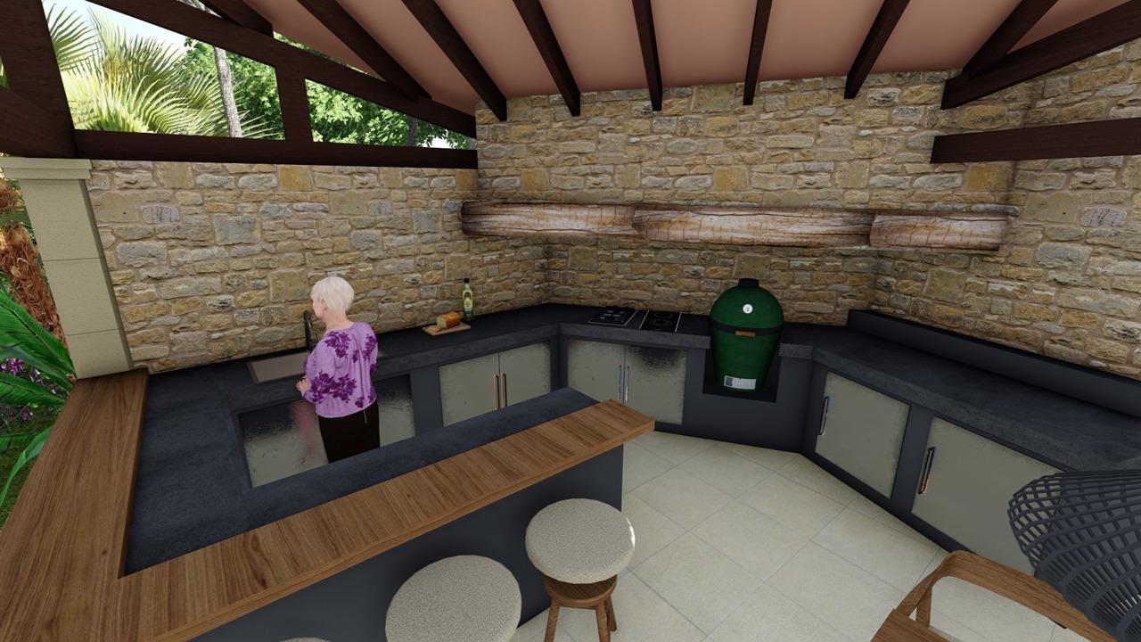 Blick auf die neue Bar und Küche. Visualisierung der neuen Aussenküche in Son Vida (Mallorca)