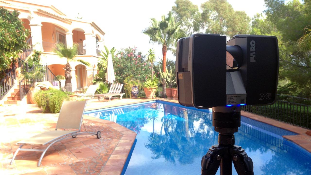 Die Bestandsaufnahme der Aussenküche in Son Vida, Mallorca erfolgte durch das 3D-Laserscanning