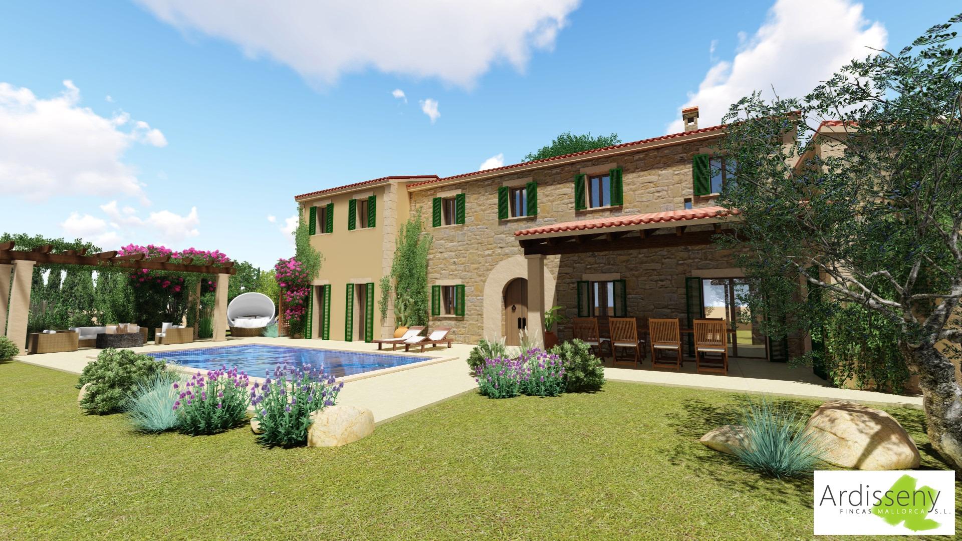 Weiterer Blick von der Pool- und Gartenseite auf die Landhaus-Finca in Inca auf Mallorca