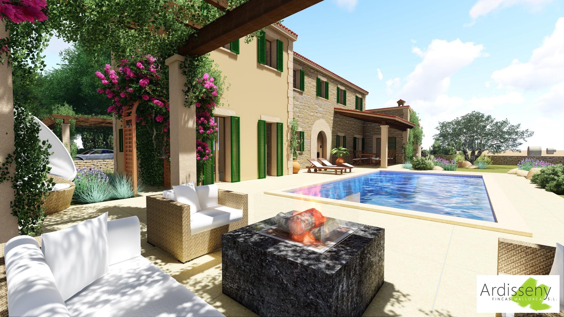 Ein schöner Blick von der Lounge auf Pool und Landhaus-Finca auf Mallorca